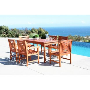Beachcrest Home Monterry 7 Piece Rectangular Eucalyptus Wood Dining Set