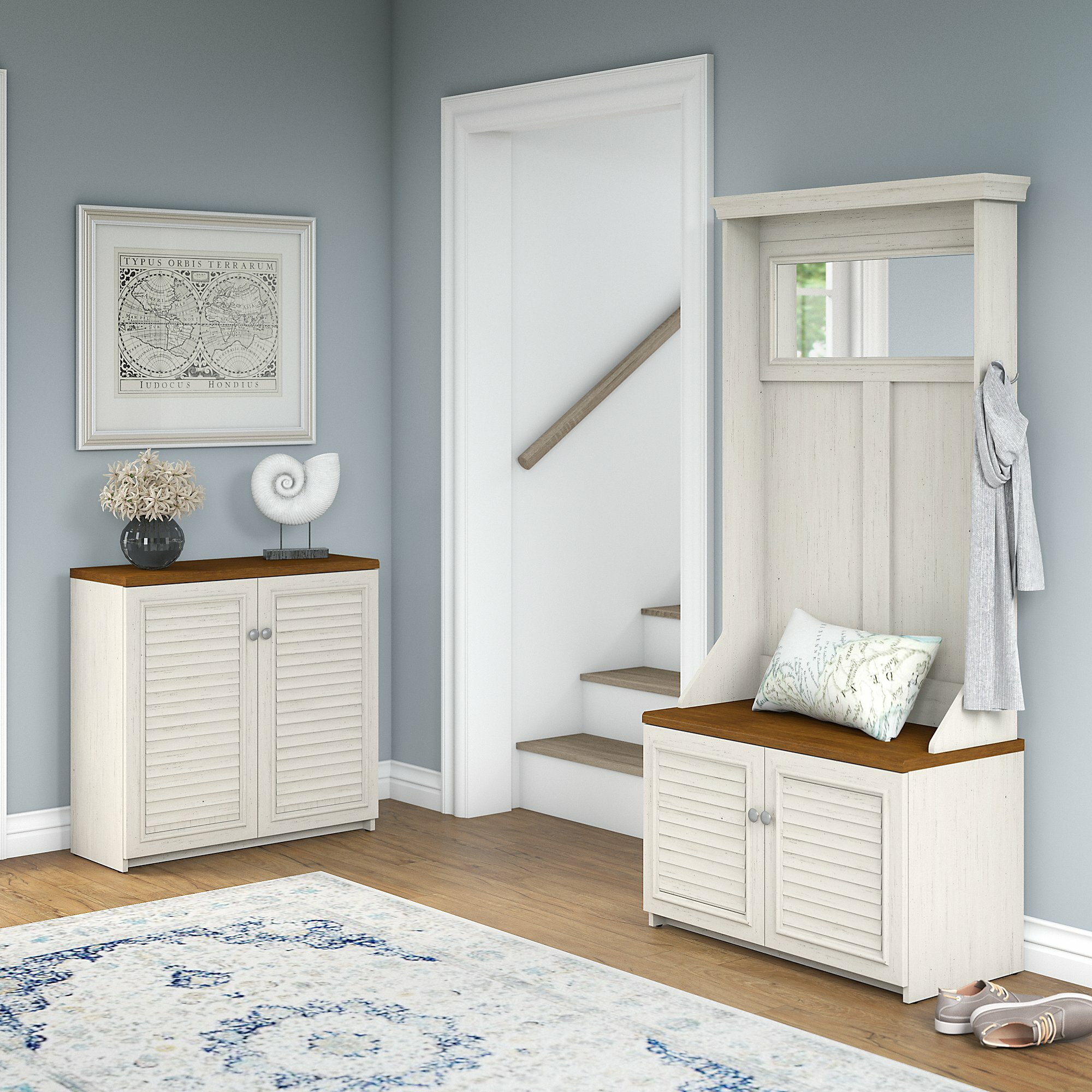 Beachcrest Home Oakridge Hall Tree With Shoe Bench And Small Storage Cabinet Wayfair