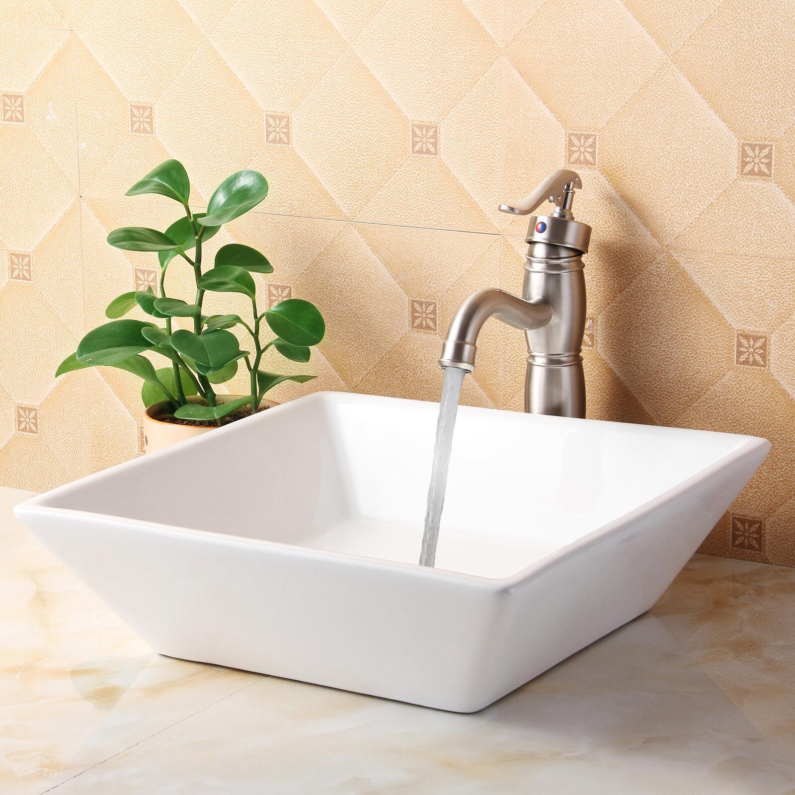 Elite Ceramic Square Vessel Bathroom Sink Reviews Wayfair