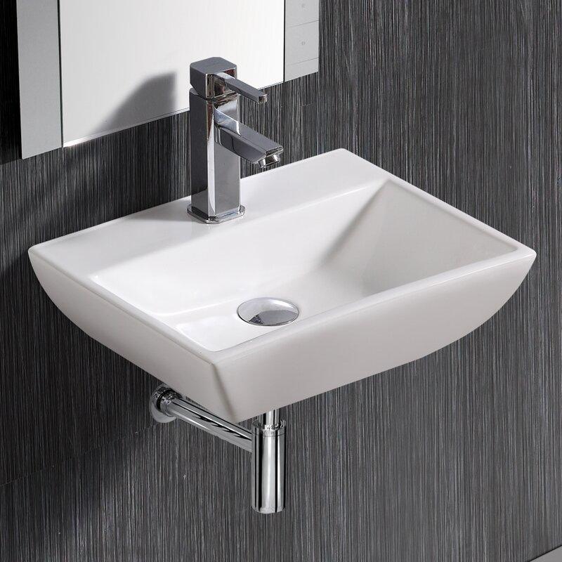 Modern Compact 18 Wall Mount Bathroom Sink