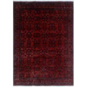 One-of-a-Kind Alban Hand-Knotted Rectangle Red Indoor Area Rug