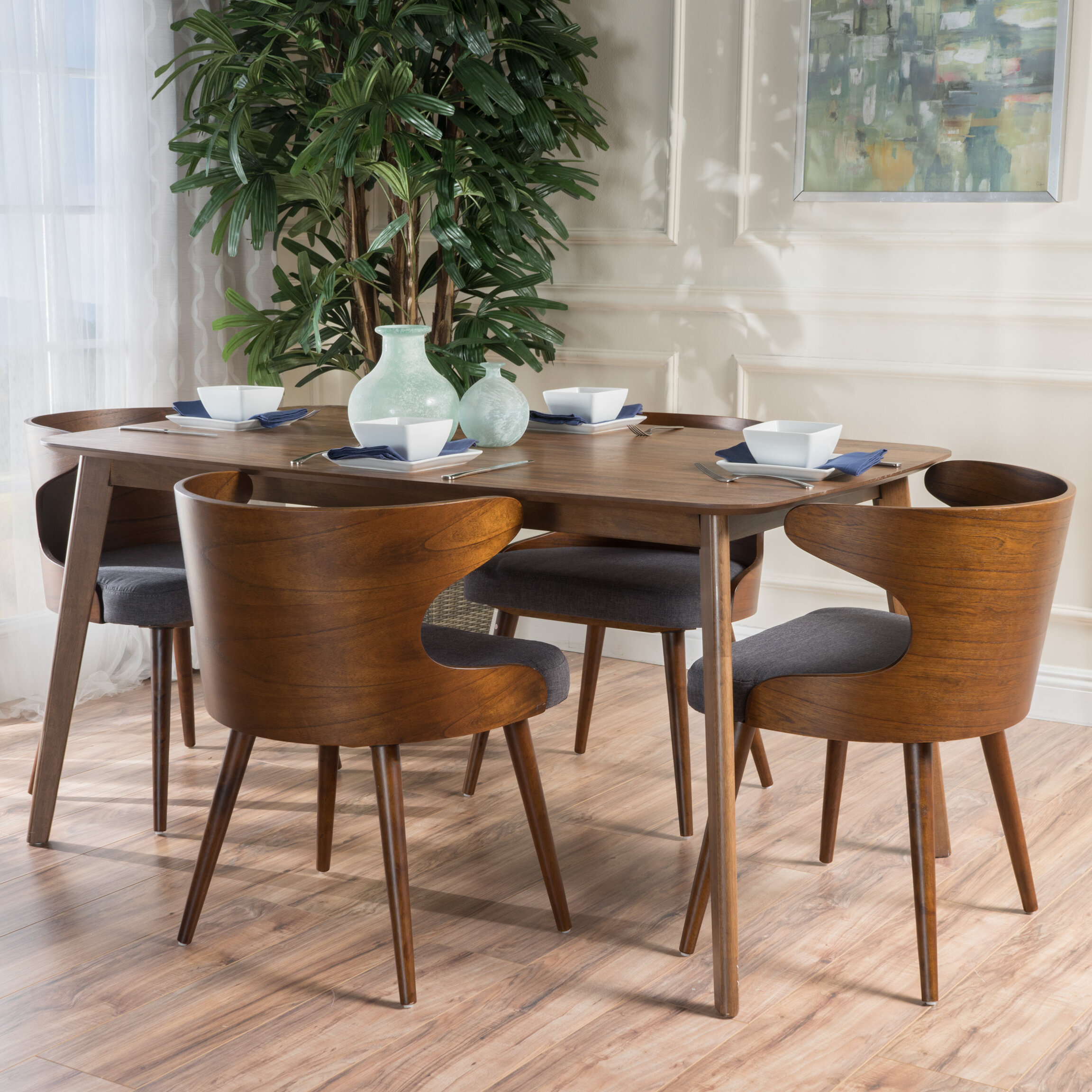 Marvelous Langley Street Camille 5 Piece Walnut Mid Century Dining Set U0026 Reviews |  Wayfair Design Inspirations