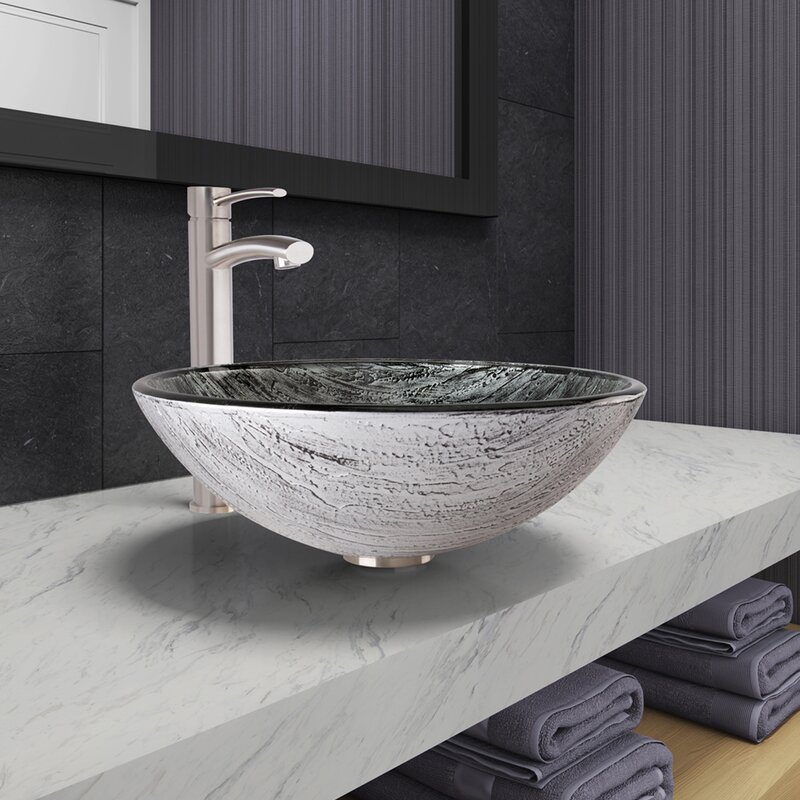 Vigo Titanium Glass Circular Vessel Bathroom Sink With Faucet Reviews Wayfair