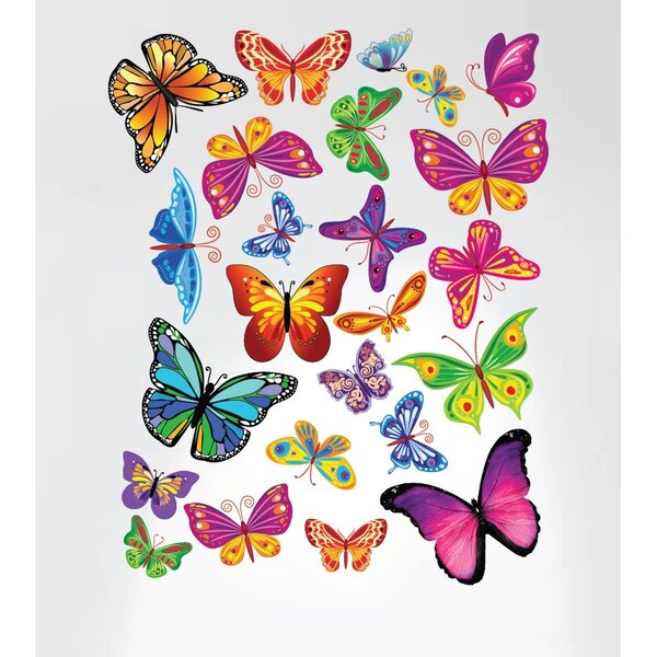 colour WHITE or BLACK LARGE BUTTERFLIES /& FLOWERS WALL DECAL for home//business