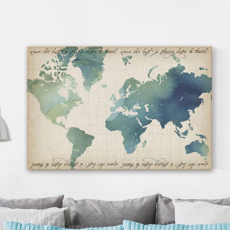 Marmont hill watercolor world map painting print on wrapped canvas watercolor world map painting print on wrapped canvas gumiabroncs Choice Image