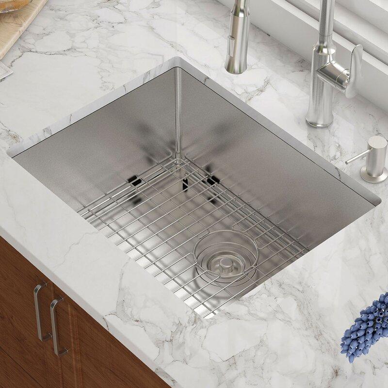 khu101 23 kraus 23 l x 18 w undermount kitchen sink with basket rh wayfair com