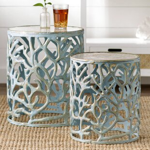 Affordable Price 2 Piece Mother of Pearl End Table Set ByBeachcrest Home