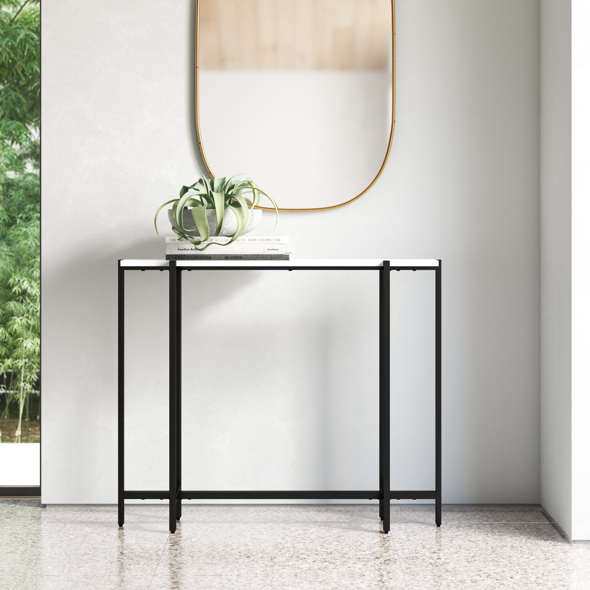 White Resin Folding Table, Hal Contemporary Narrow Console Table Reviews Allmodern