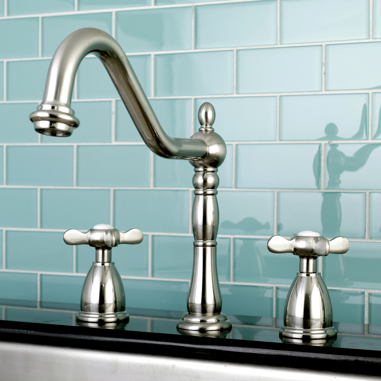 Kingston Brass Essex Double Handle Deck Mounted Widespread Kitchen Faucet Reviews Wayfair