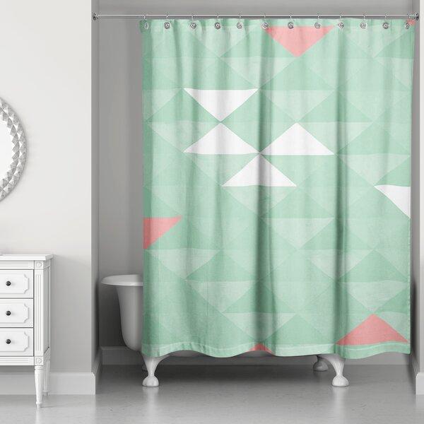 Brayden Studio Nowicki Triangle Mint Shower Curtain
