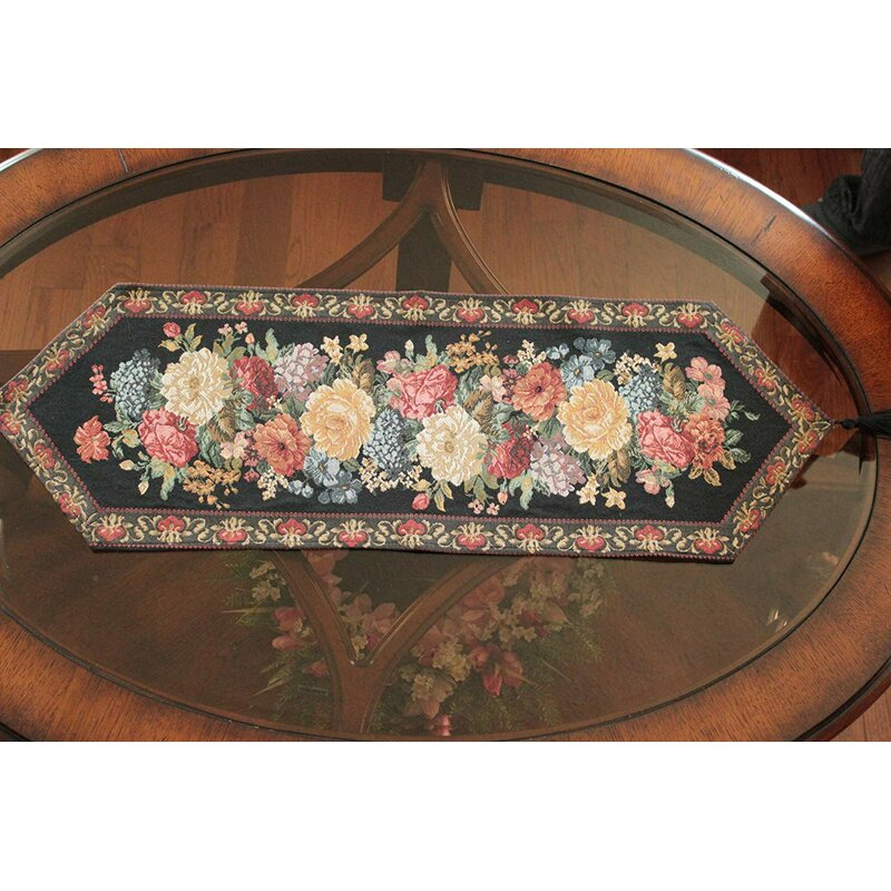 Decorative Tapestry Country Rustic Floral Midnight Awakening Blooms Table Runner