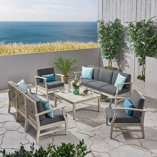Bridgers Outdoor 9 Piece Sofa Seating Group with Cushions by Foundry Select
