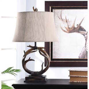 Deer Lamp Shade /& Bronze Finished Branch Lamp Base 25.5 Tall