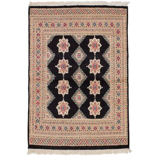 Best Choices One-of-a-Kind Do Hand-Knotted 4'2 x 5'11 Wool Black/Beige Area Rug By Isabelline