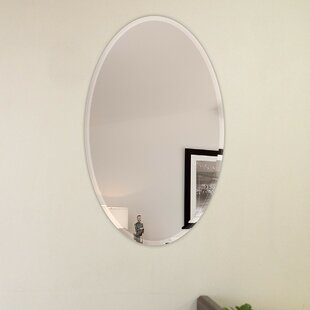 Best Reviews Oval Beveled Polish Frameless Wall Mirror with Hooks By Fab Glass and Mirror
