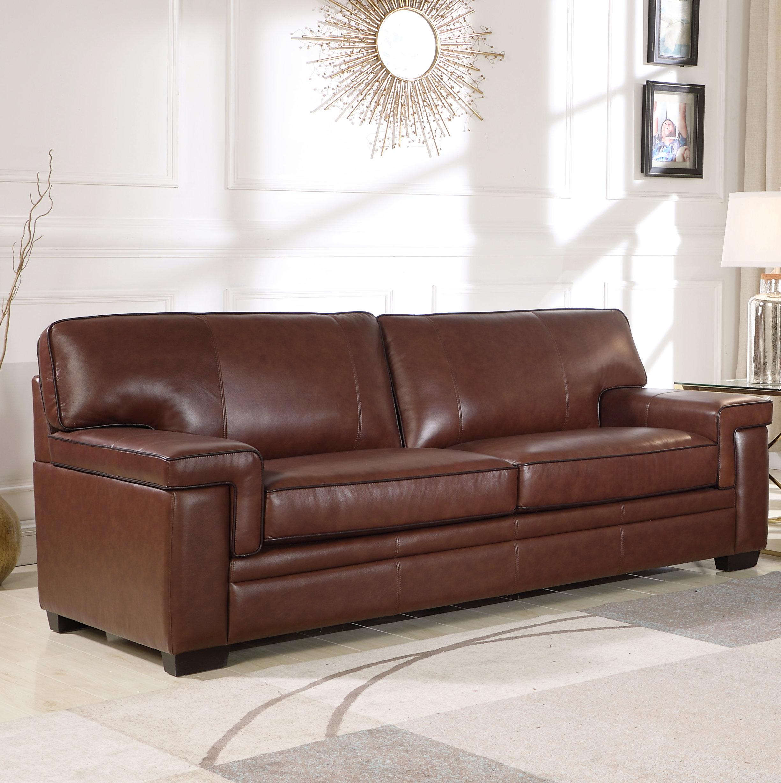 Darby home co ehmann leather sofa wayfair