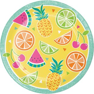 Summer Fruit Paper Disposable Dessert Plate (Set of 24)