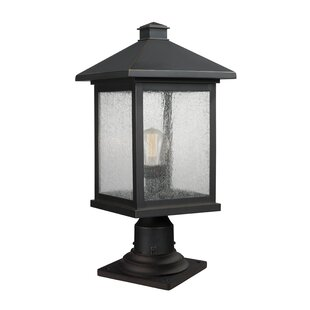 Reviews Leroy Modern Outdoor 1-Light Glass Shade Pier Mount Light By 17 Stories