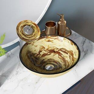 Swirl Foil Undertone Vaisselle Circulaire En Verre Pour Lavabo