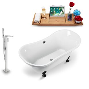 60 x 32 Clawfoot Soaking Bathtub with Tray by Streamline Bath