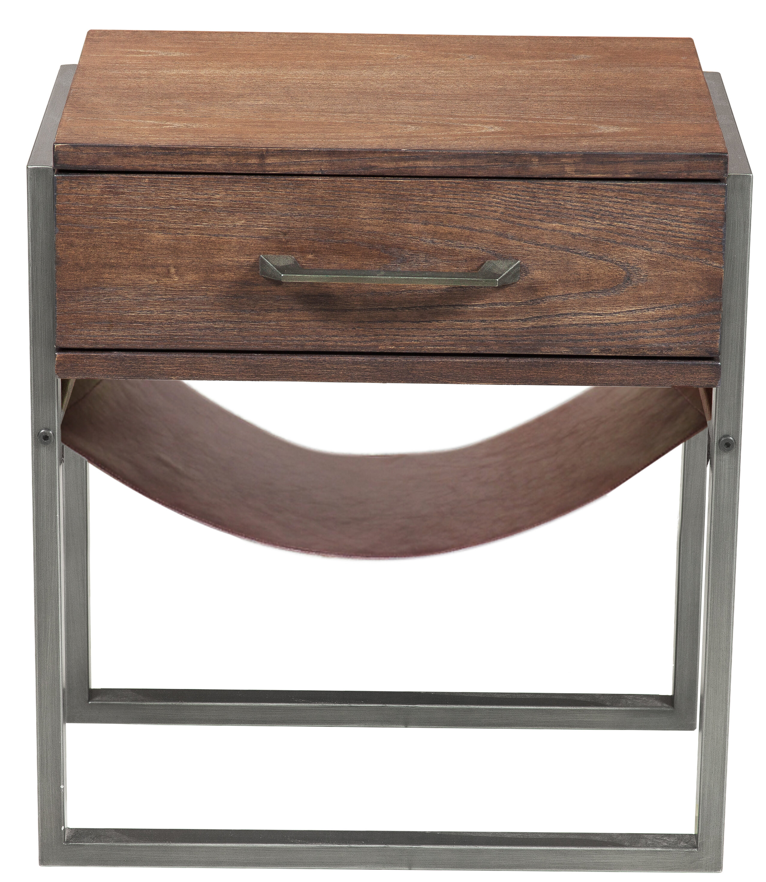 Union rustic larosa industrial style acacia wood end table wayfair