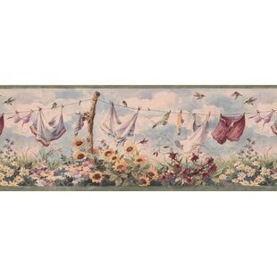 Hydrangea Clothes On Drying Line 0 75 L X 180 W Wallpaper Border By August Grove