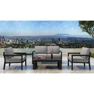 Iliana 4 Piece Deep Seating Group with Sunbrella Cushions (Set of 4)