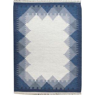 Ronnie Handmade Kilim Wool Blue Rug by Brick & Barrow