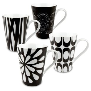4 Piece Black & White Assorted Mugs Set