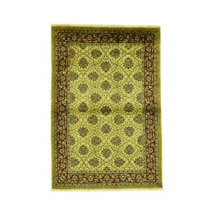Inexpensive One-of-a-Kind Hotwells Pure Overdyed Vintage Hand-Knotted 4' x 5'10 Wool Yellow Area Rug By Isabelline