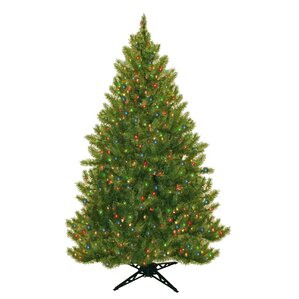 6 5 Evergreen Fir Artificial Christmas Tree With 450 Multicolored Lights