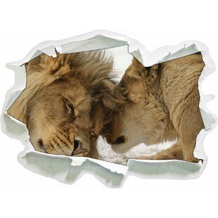 Cuddling Lions Wall Sticker By East Urban Home