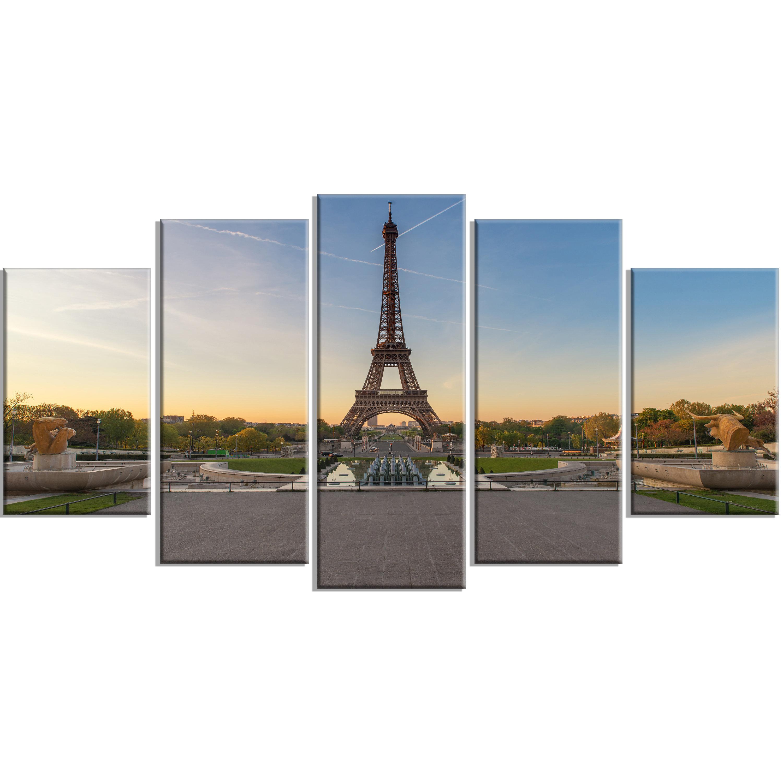 Designart Wide View Of Paris Eiffel Tower At Sunrise 5 Piece Wall Art On Wrapped Canvas Set Wayfair