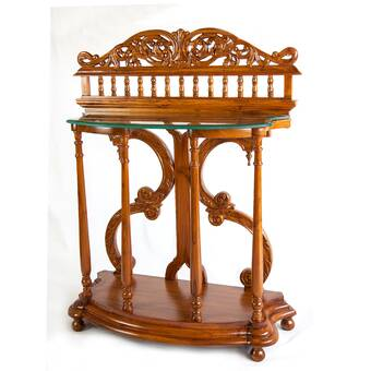 Punctual Solid Mahogany French Chateau Style Antique White Carved Console Hall Table Furniture