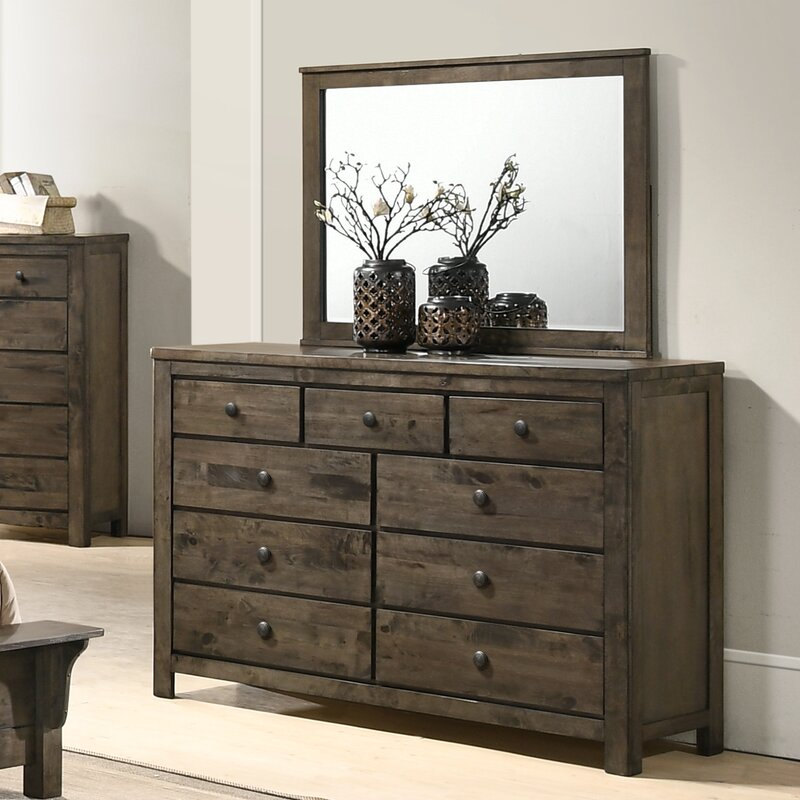 Classic Rustic Real Wood 9 Drawer Nightstand