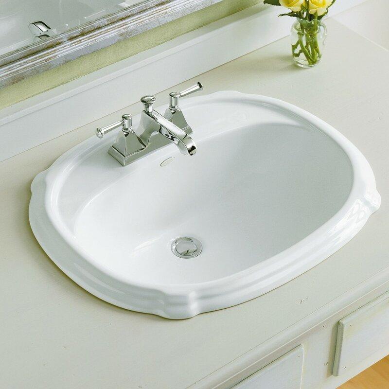 Portrait® Ceramic Oval Drop-In Bathroom Sink with Overflow