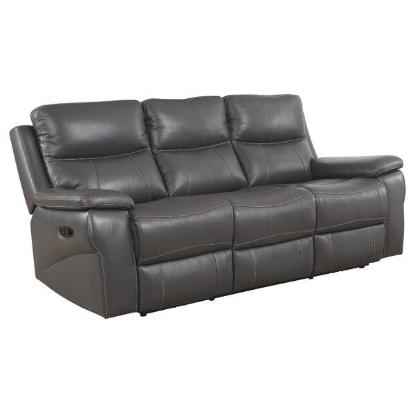 Red Barrel Studio Faulks 81 88 Wide Leather Match Pillow Top Arm Reclining Sofa Wayfair