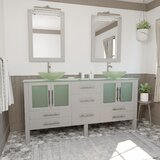 Carlotta 71 Double Bathroom Vanity Set with Mirror by Wrought Studio™