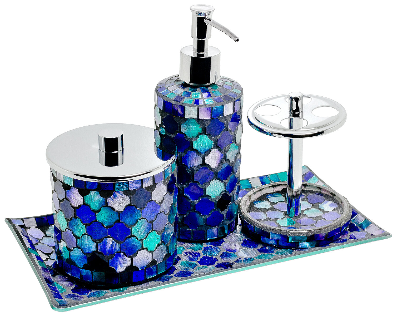 Home Essence Mosaic 4 Piece Bathroom Accessory Set & Reviews ... on purple jewelry accessories, purple kitchen accessories, purple flower pots, purple furniture accessories, purple room accessories, purple shower curtains and accessories, purple home accessories, purple car accessories, purple wedding accessories, purple bedroom, purple beds, purple desk accessories, purple wall accessories,