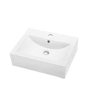 Affordable Ceramic Rectangular Vessel Bathroom Sink with Overflow By Dawn USA