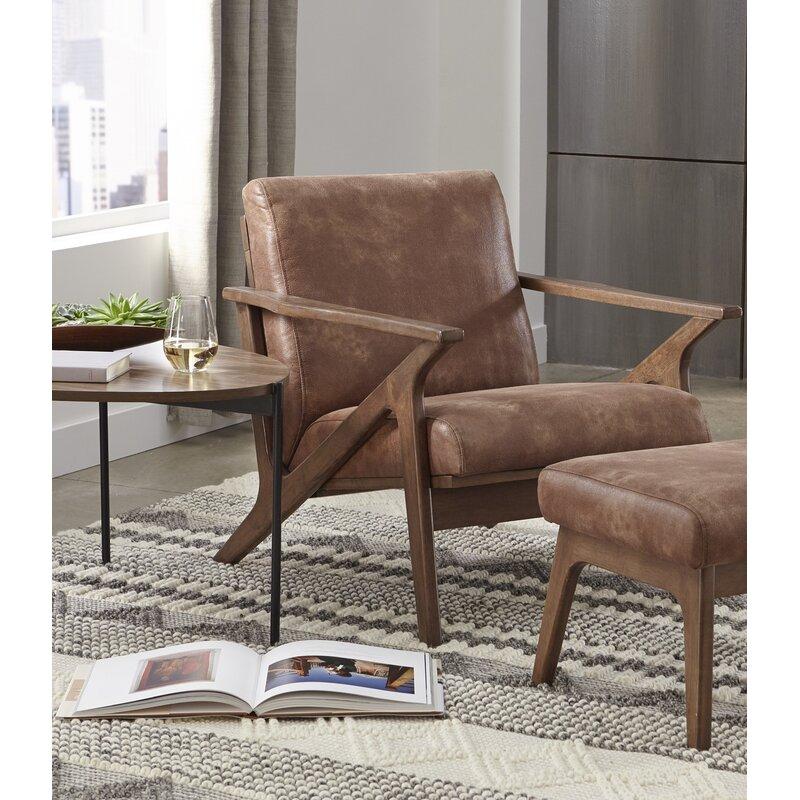 Union Rustic Choudhury 28 W Faux Leather Armchair Reviews Wayfair