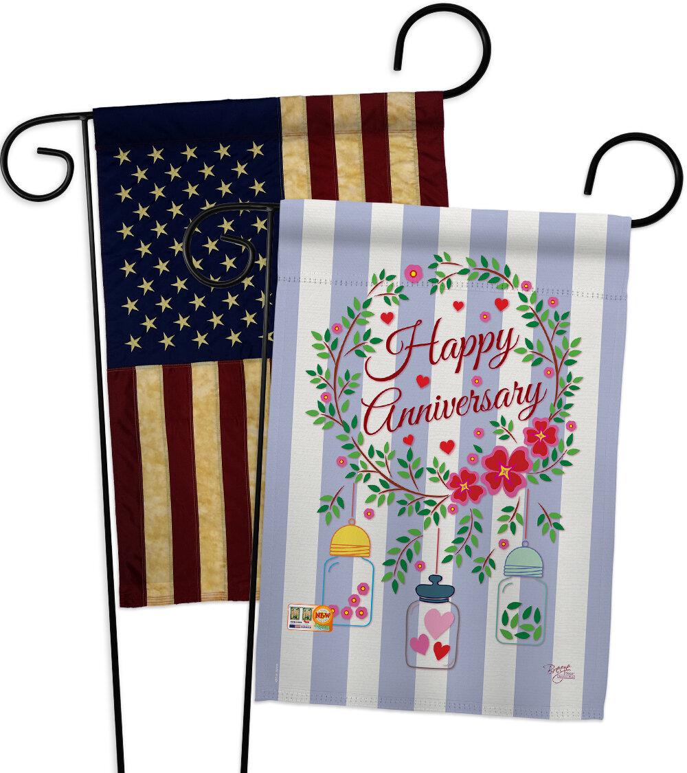 Breeze Decor Happy Anniversary 2 Sided Polyester 19 X 13 In Garden Flag Wayfair