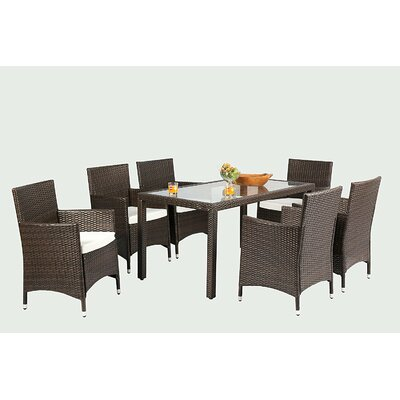 Bridgette Outdoor Complete 7 Piece Dining Set with Cushions Color: Brown by Andover Mills
