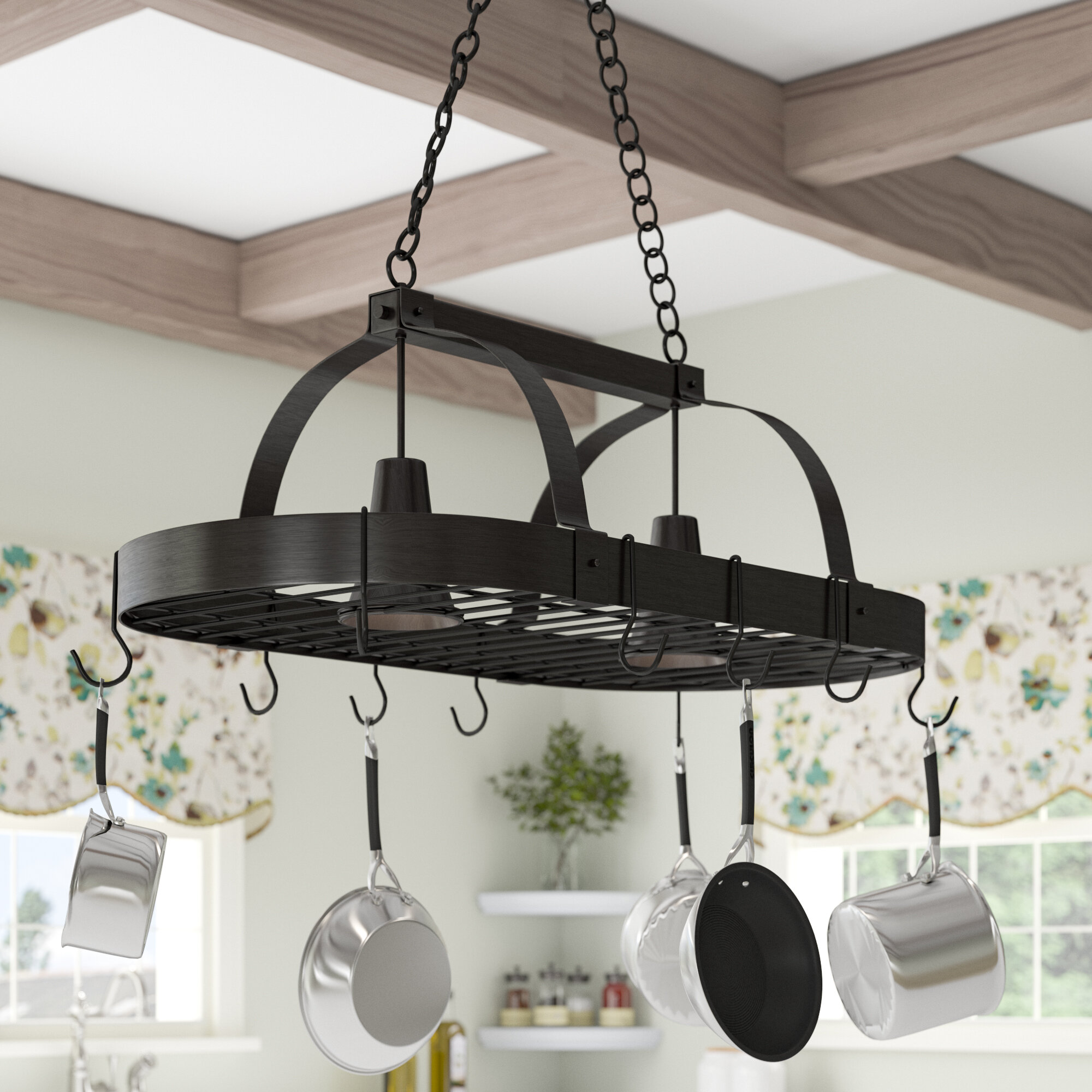 Picture of: Darby Home Co 2 Light Kitchen Hanging Pot Rack Reviews