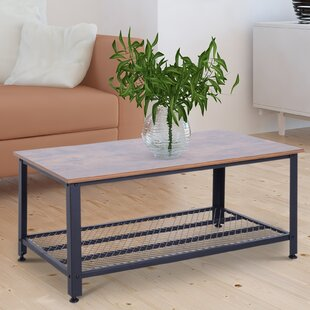 Williston Forge Tobey Metal and Wood Grain Coffee Table