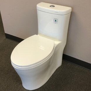 WoodBridge Compact Dual Flush Elongated One-Piece Toilet