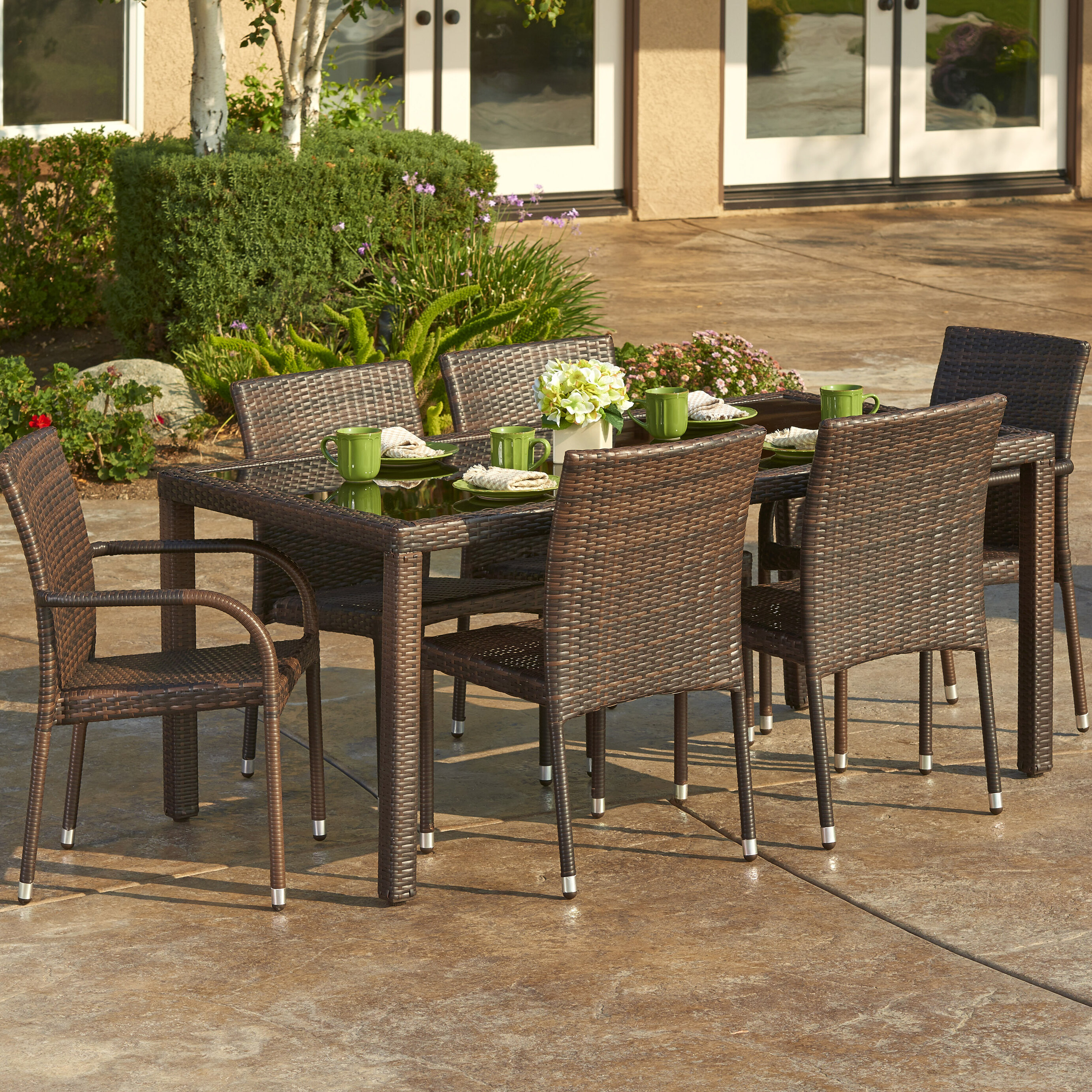 W Unlimited 7 Piece Outdoor Wicker Dining Set | Wayfair