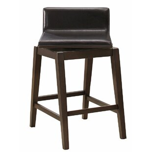 Lola Wood/Leather Swivel Bar Stool (Set o..
