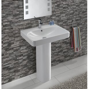 Affordable Smyle Vitreous China 24 Pedestal Bathroom Sink with Overflow By Bissonnet