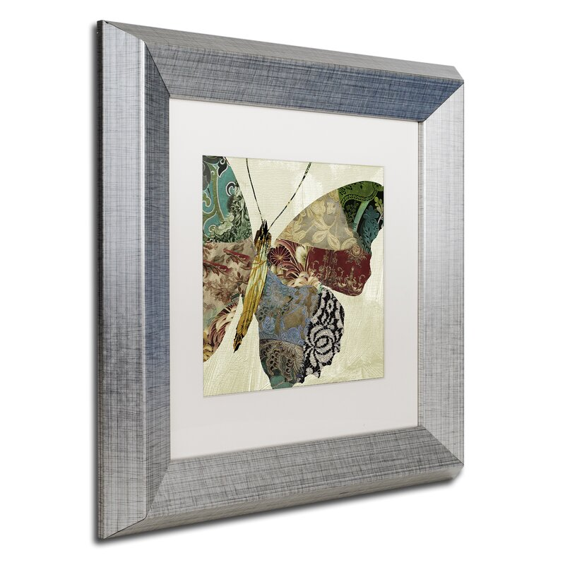 Trademark Art Butterfly Brocade Ii By Color Bakery Framed Graphic Art